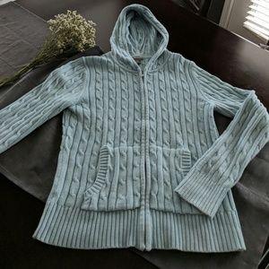 Ann Taylor hooded zipper sweater. Cotton.